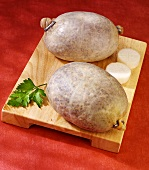 Two raw haggises (Stuffed sheep's stomachs, Scotland)