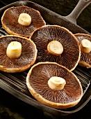 Mushrooms in a grill pan