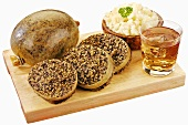 Haggis (Scottish speciality), mashed turnips and whisky