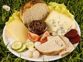 Ploughman's lunch (cheese, pickles, chutney & bread), England