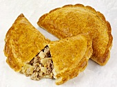 Two Cornish pasties (Meat & vegetable pasties, Cornwall, England)