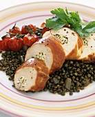 Chicken roulade with herb stuffing, Parma ham and lentils