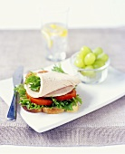 Open sandwich with sliced turkey, lettuce and tomato