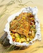 Salmon with lemon zest and herbs on vegetables (tinned)