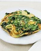Spinach and potato tortilla (made with precooked potatoes)