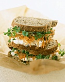 Cottage cheese, grated carrot & cress in wholemeal sandwich