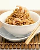 Asian egg noodles with shrimps