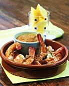 Grilled prawns with Romesco sauce