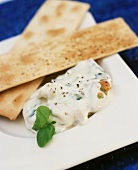 Low-fat soft cheese dip with crispbread