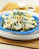 Fettuccine with ricotta, spinach and pine nuts