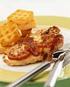 Chicken breast topped with low-fat mozzarella & bacon