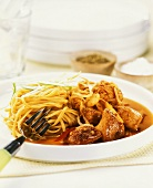 Chilli chicken with egg noodles