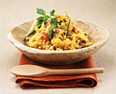 Moroccan rice dish with vegetables and sultanas