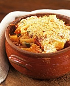 Vegetable casserole with breadcrumb topping
