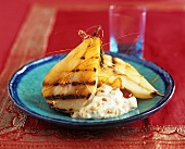 Grilled pears with spun sugar and cream with sponge crumbs