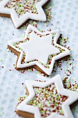 Iced star-shaped biscuits with hundreds and thousands