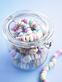 Candy necklaces in jar