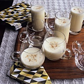 Several glasses of egg nog