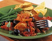 Pollo alla cacciatora (Braised chicken with tomatoes & olives)