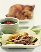 Pancake with Peking duck, cucumber and Hoisin sauce