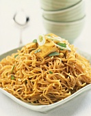 Singapore noodles with tofu (Asian noodle stir-fry with tofu)