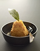 Breaded pear with leaf