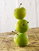 Three greengages, in a pile, one on top of the other