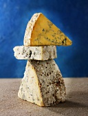 English cheeses: Blue Shropshire, Blue Vinney and Stilton