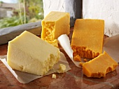 English cheeses: Red Leicester, Lancashire, Double Gloucester