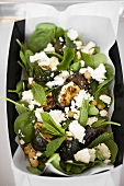 Grilled courgettes with spinach, goat's cheese & chick-peas