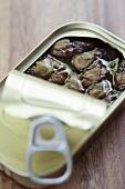 Shellfish in opened tin