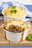 Cottage pie in two baking dishes (UK)