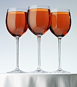 Rosé wine in three glasses