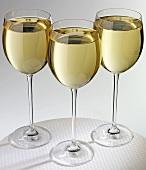 White wine in three glasses