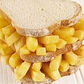 Double-decker chip butty, close-up