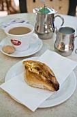 Pastizzi (puff pastry with ricotta filling, Malta) & tea