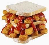 Fish Finger Sandwich (Weissbrot & Fischstäbchen) mit Ketchup