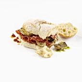 Artichoke and salami in ciabatta
