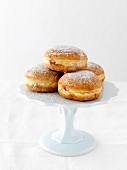 Doughnuts on a cake stand
