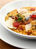 Tomato risotto with basil and Parmesan