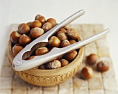 Hazelnuts with nutcracker