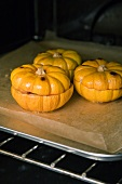 Baby pumpkins stuffed with tofu in the oven
