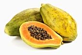 Two whole and one half papaya