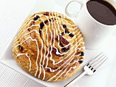 Fruity Danish pastry with a cup of coffee
