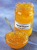 Apricot preserve in jar and small dish