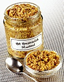 Hot horseradish mustard in jar and small dish
