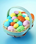 Small trug of coloured eggs