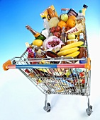 Food and drink in shopping trolley