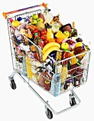 Food and drink in a shopping trolley