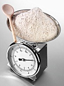 Wholemeal flour on kitchen scales